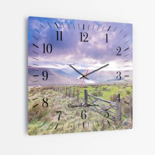 Greenfield Reservoir, Peak District - Square Glass Clock
